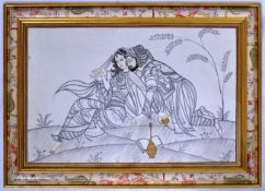 VINTAGE 20TH CENTURY INDIAN PAINTING ON SILK OF TWO LOVERS