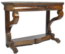 ANTIQUE 19TH CENTURY WALNUT AND FOSSIL MARBLE CONSOLE TABLE