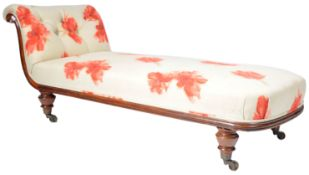 19TH CENTURY VICTORIAN MAHOGANY CHAISE LOUNGE DAYBED