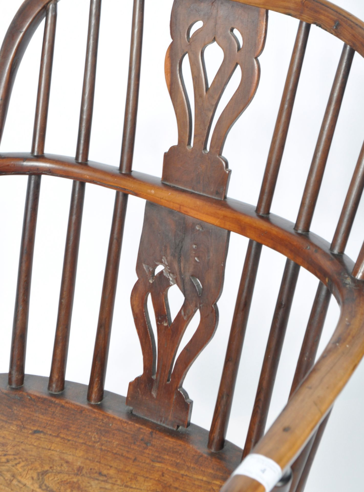 ANTIQUE GEORGIAN YEW AND ELM CRINOLINE WINDSOR ARMCHAIR - Image 5 of 9
