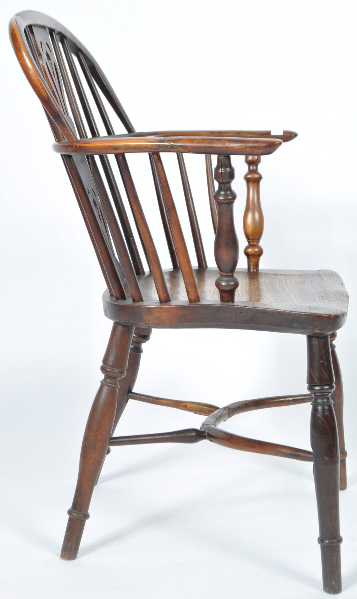 ANTIQUE GEORGIAN YEW AND ELM CRINOLINE WINDSOR ARMCHAIR - Image 6 of 9