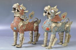 PAIR OF ANTIQUE CHINESE TIBETAN BRASS TURQUOISE & RED ENAMEL FOO DOG FIGURES