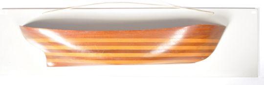 EARLY 20TH CENTURY MAHOGANY SHIPWRIGHTS MODEL HALF HULL