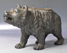 19TH CENTURY VICTORIAN BLACK FOREST MANNER SPELTER BEAR INKWELL