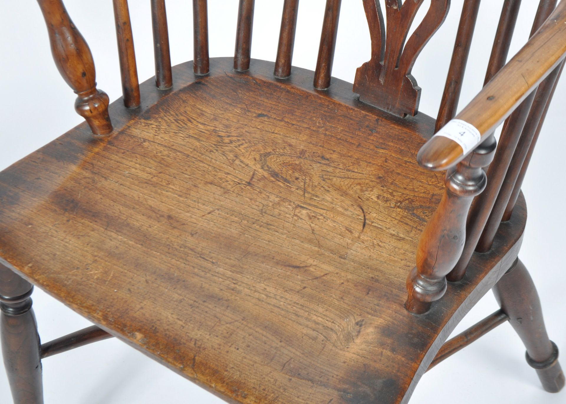 ANTIQUE GEORGIAN YEW AND ELM CRINOLINE WINDSOR ARMCHAIR - Image 4 of 9