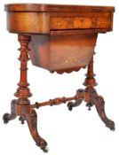 ANTIQUE 19TH CENTURY WALNUT GAMES TABLE WORK BOX