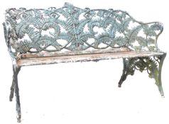19TH CENTURY CAST IRON COALBROOKDALE MANNER FERN & BLACKBERRY GARDEN BENCH