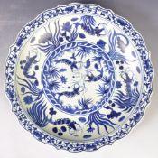 "LARGE CHINESE XUANDE MARK BLUE AND WHITE CRAYFISH PATTERN 16"" DISH"
