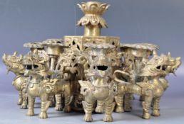 19TH CENTURY ANTIQUE TIBETAN FOO DOG CENTERPIECE
