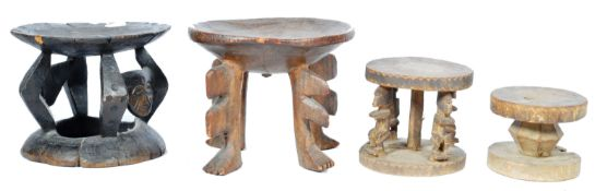 COLLECTION OF ANTIQUE AFRICAN TRIBAL CARVED STOOLS