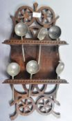 ANTIQUE DUTCH CARVED WOOD SPOON RACK WITH SPOONS