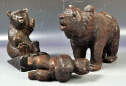 COLLECTION OF ANTIQUE CARVED BLACKFOREST BEAR FIGURINES