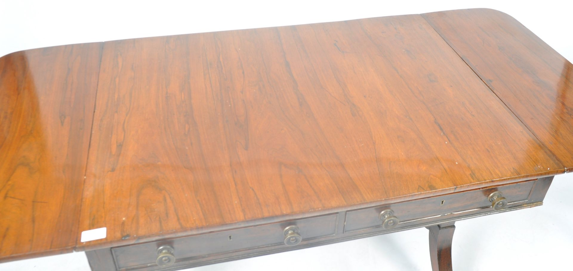 ANTIQUE ROSEWOOD REGENCY SOFA TABLE RETAILED BY HARRIS OF LONDON - Image 9 of 10
