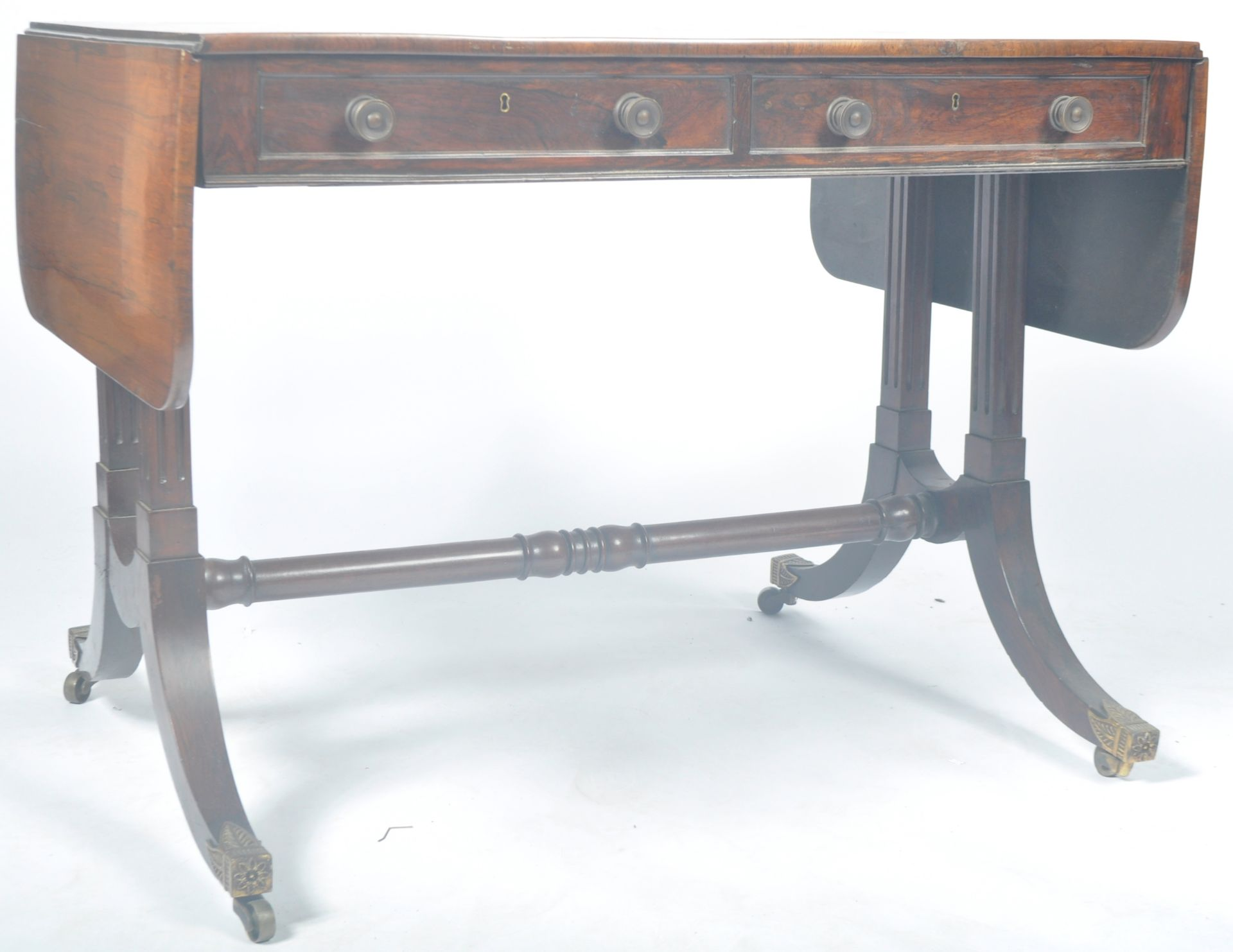 ANTIQUE ROSEWOOD REGENCY SOFA TABLE RETAILED BY HARRIS OF LONDON - Image 10 of 10