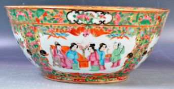 ANTIQUE 19TH CENTURY CHINESE CANTONESE ROSE MEDALLION BOWL