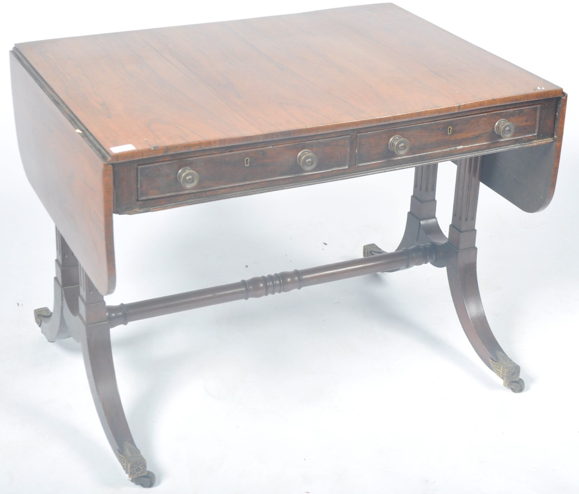 ANTIQUE ROSEWOOD REGENCY SOFA TABLE RETAILED BY HARRIS OF LONDON - Image 3 of 10