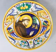 MID CENTURY ITALIAN MAJOLICA PAINTED PLATE DEPICTING A MONK