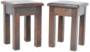 PAIR OF ANTIQUE SOLID OAK COUNTRY HOUSE STOOLS