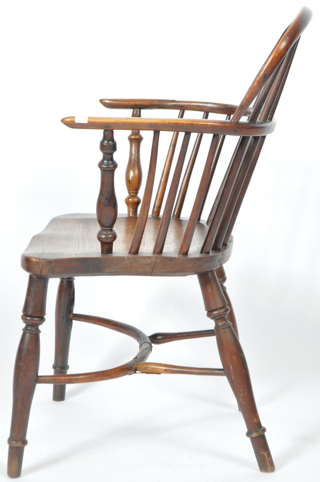 ANTIQUE GEORGIAN YEW AND ELM CRINOLINE WINDSOR ARMCHAIR - Image 8 of 9