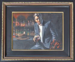 FABIAN PEREZ - MAN AT BAR WITH RED WINE - OIL ON CANVAS
