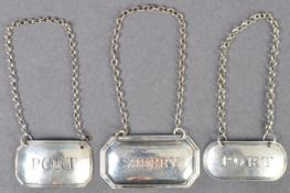 COLLECTION OF ANTIQUE SILVER DECANTER LABELS