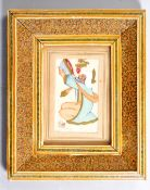 ANTIQUE PERSIAN PAINTING ON IVORY IN MICRO MOSAIC FRAME