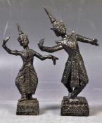 PAIR OF THAI SIAM BRONZE FIGURINES OF DANCING FIGURINES