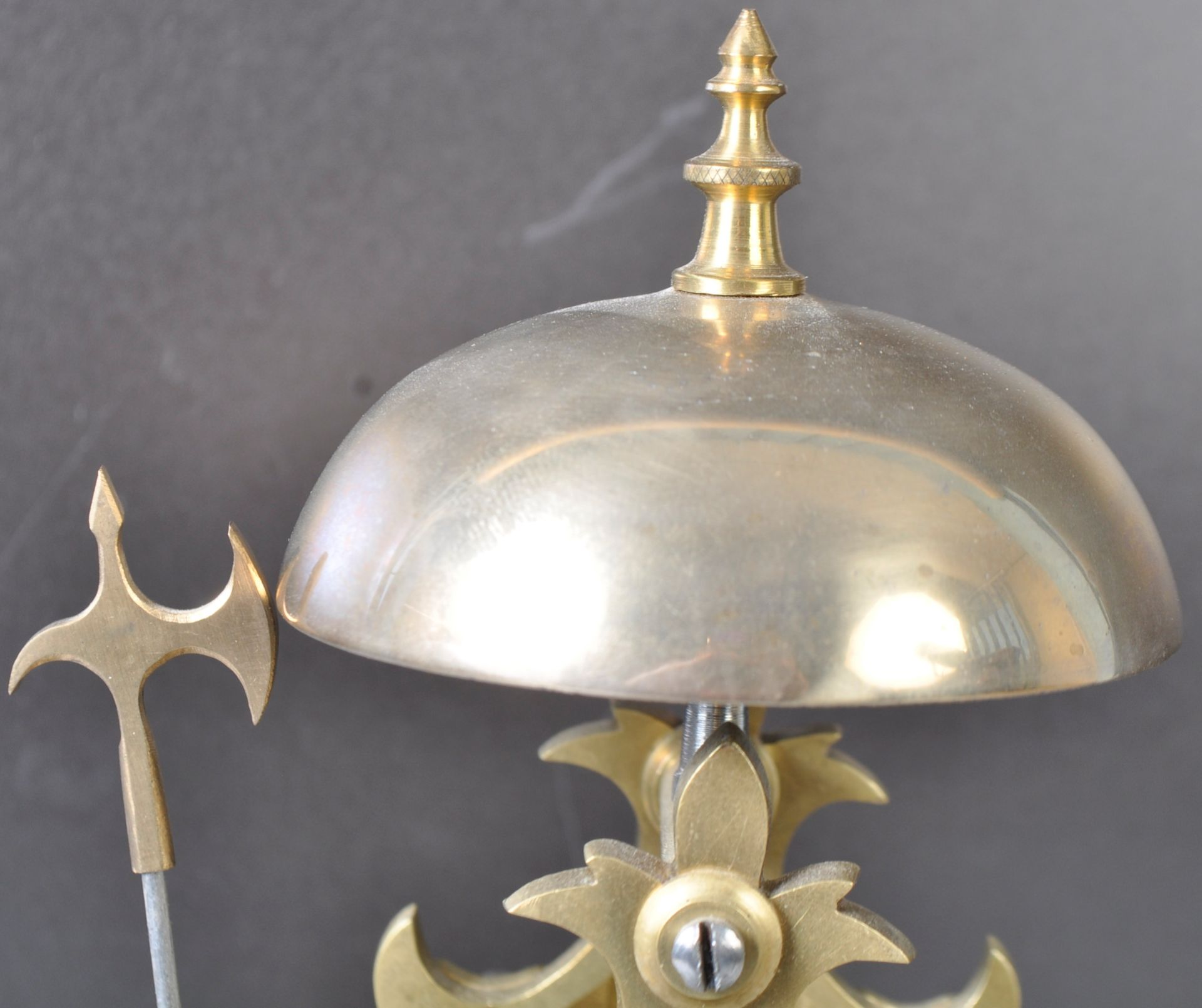 ANTIQUE MID 19TH CENTURY GOTHIC BRASS SKELETON CLOCK IN GLASS DOME - Image 5 of 13