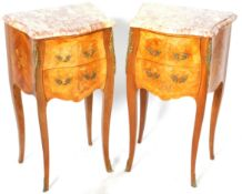 MATCHING PAIR OF FRENCH WALNUT BEDSIDE CHESTS
