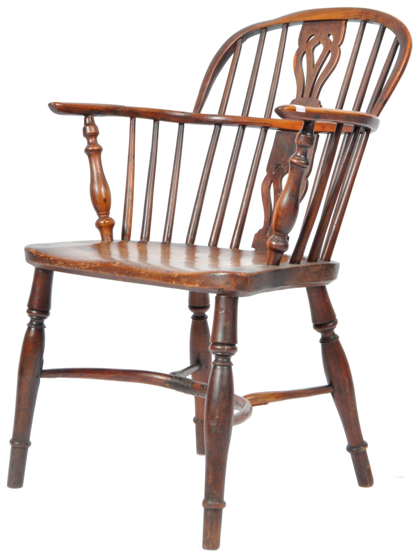 ANTIQUE GEORGIAN YEW AND ELM CRINOLINE WINDSOR ARMCHAIR