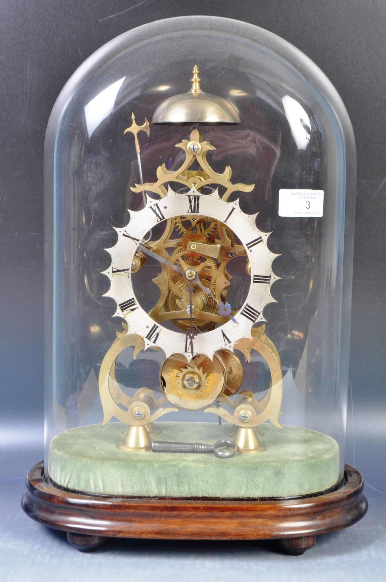 ANTIQUE MID 19TH CENTURY GOTHIC BRASS SKELETON CLOCK IN GLASS DOME