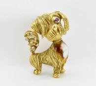 18CT GOLD RUBY DIAMOND & ENAMEL DOG BROOCH