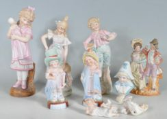 COLLECTION OF 20TH CENTURY CONTINENTAL POLYCHROME BISQUE FIGURINE