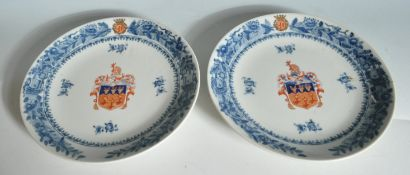 PAIR OF 20TH CENTURY CHINESE BLUE AND WHITE PLATES