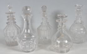 FIVE 18TH CENTURY AND 19TH CENTURY GEORGIAN DECANTERS