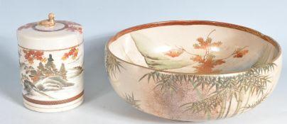 EARLY 20TH CENTURY JAPANESE SATSUMA BOWL AND JAR