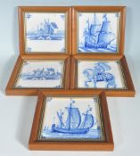 FIVE ANTIQUE DELFT BLUE AND WHITE PAINTED TILES