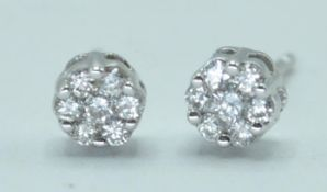 PAIR OF DIAMOND AND WHITE GOLD CLUSTER EARRINGS