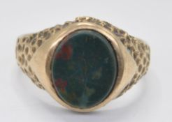 1970'S 9CT GOLD AND BLOODSTONE SIGNET RING