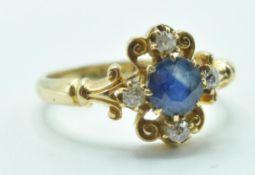 EDWARDIAN 18CT GOLD SAPPHIRE AND DIAMOND RING