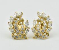 PAIR OF 18CT GOLD & DIAMOND EARRINGS