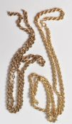 TWO 9CT GOLD ROPE TWIST CHAIN NECKLACES