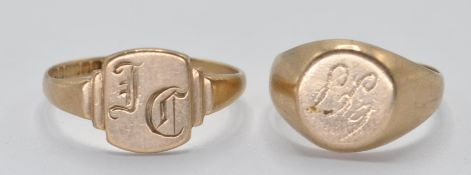 TWO VINTAGE 9CT GOLD SIGNET RINGS