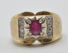 14CT GOLD RUBY AND DIAMOND RING