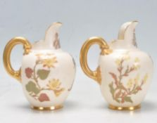 ANTIQUE VICTORIAN 19TH CENTURY ROYAL WORCESTER BLUSH IVORY JUGS