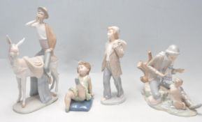 FOUR SPANISH CERAMIC FIGURINES BY LLADRO AND NAO