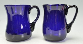 BRISTOL BLUE GLASS - PAIR OF TANKARDS IN ORIGINAL BOX