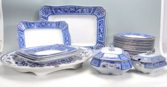 LARGE BLUE AND WHITE DINNER SERVICE BY F & SONS LTD