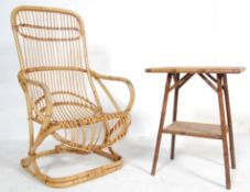 VINTAGE CANE WICKER ARMCHAIR TOGETHER WITH BAMBOO TABLE