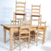 LARGE VINTAGE 20TH CENTURY PINE TABLE AND CHAIRS